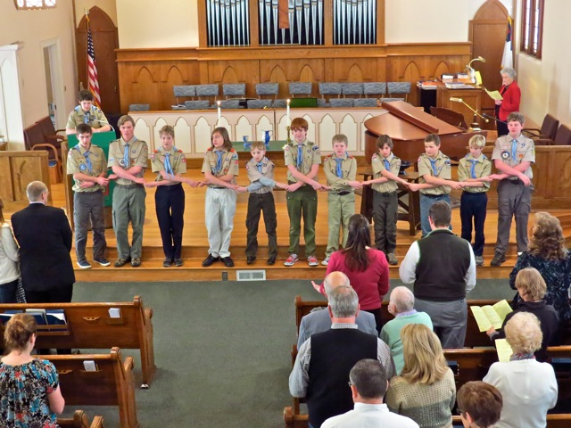 Scout group in the sanctuary.